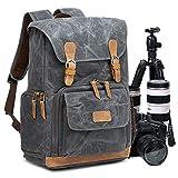 UBAYMAX Kamerarucksack Kameratasche, Wasserdicht Canvas Leinenstoff und Echt-Leder DSLR Rucksack, 15,6 Zoll Laptop Rucksack, Fotorucksack für Kamera Zubehör...