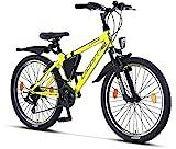 Licorne Bike Guide Premium Mountainbike in 24 Zoll - Fahrrad für Mädchen, Jungen, Herren und Damen - 21 Gang-Schaltung - Gelb/Schwarz