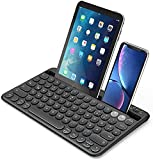 Bluetooth Tastatur für Tablet, Dual-Mode Wiederaufladbare kabellose Tastatur mit Halterung, Ultradünne QWERTZ Bluetooth Keyboard für Tablet, Handy, PC,...