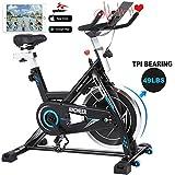 ANCHEER Indoor Cycling Bike Heimtrainer Hometrainer Fahrrad - 22KG Silent Belt Drive Verchromtes
