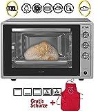 ICQN 70XXL Mini-Öfen | 1800 W | Mini-Backofen mit Innenbeleuchtung und Umluft | Pizza-Ofen | Doppelverglasung | Drehspieß | Timer Funktion | Emailliert | Inox...