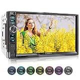 XOMAX XM-2V719 Autoradio mit Mirrorlink für Android, Bluetooth Freisprecheinrichtung, Anschluss für externes Mikrofon, 7 Zoll / 18cm Touchscreen Bildschirm, 7...