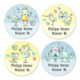 24 individuelle Namensaufkleber zum Markieren von Heften und Schul-Büchern - Roboter - personalisierte Sticker für Kinder - Geschenk zur Einschulung - Perfekt...