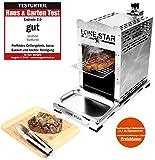 LoneStar StarBurner Edelstahl Beef Grill, Hochtemperatur Gasgrill, Beefmaker Oberhitzegrill bis 800°C, Gas Griller, Steak Grillen wie ein Profi, Steakgriller,...