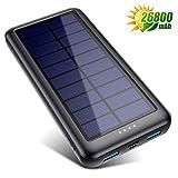 Solar Powerbank 26800mAh【iPosible Neueste S4 Solar Ladegerät】mit USB-C Eingang,Power Bank Externer Akku Akkupack mit 2 Ausgänge Tragbares Ladegerät für...