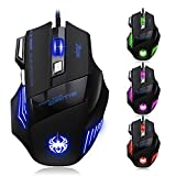 [Neue Version] Gaming Maus, Zelotes 7200 dpi 7 Tasten LED optische USB Wired Gamer Maus,Gaming Mäuse Mouse für PC MAC