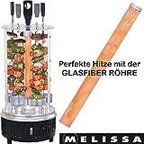 Melissa 16360017 Vertikaler Tischgrill für Döner, Schaschlik, Gemüse, Hähnchen, Gyros oder Dönerspieße Dreh-Grill mit Schutzgitter inklusive 5...