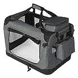 EUGAD 0329GL Hundebox faltbar Hundetransportbox Auto Transportbox Reisebox Katzenbox Grau 91,4 x 63,5 x 63,5 cm