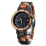 Ykop Damen Holz-Edelstahl Armbanduhr *Colorful Week* mit Datum- & Tagesanzeige Handgefertigt Quarz Analog Uhr inkl. Geschenkbox (Schwarz)