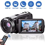 Videokamera Camcorder HD 1080P 24.0MP Video Camcorder Nachtsicht Pausenfunktion 18-facher Digitalzoom Videokamera HD mit Fernbedienung