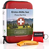 GoLab Erste Hilfe Set Outdoor - Survival Kit. Sport & Reise First Aid Kit mit Notfallbeatmungsmaske + Signalpfeife für die optimale Erstversorgung & Tasche -...