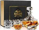 KANARS Whisky Karaffe und Glser Set, Whiskey Dekanter 750ml mit 4320ml Glsern, Kristallglas Whiskybecher, Hochwertige Qualitt, Luxuris Geschenk, 5-teiliges