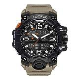 Herren Digitale Armbanduhr, Military Sport Analog-Digital Chronograph Uhren für Männer, Big, 56 mm Wasserdicht LED Harz Gurt Armbanduhr (Khaki)