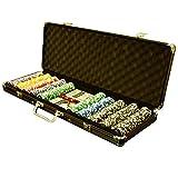 Pokerkoffer Black Edition mit 500 abgerundeten Ocean Champion Chips hochwertige Metallkern Jetons 12 g Pokerset mit viel Zubehör 2 Pokerdecks schwarzer...