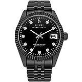 BUREI Luxus Herren Automatik Uhren Schwarzes-dial mechanische Armbanduhr 24 Analog Display Synthetischer-Saphir Lens Schwarz Edelstahlband