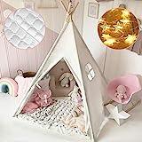 Tiny Land Tipi Spielzelt für Kinder mit Gepolsterter Decke & Lichterkette & Aufbewahrungstasche Baumwolle- Segeltuch Kinderzelt (Weiß 165cm Hoch) Spielhaus...