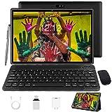 Tablet 10 Zoll Android 10 Tablet PC Mit Tastatur 4G LTE SIM, 3 GB RAM + 32 GB ROM, Quad-Core-Prozessor, GMS-Zertifizierung, 8000 mAh, 1080p Full HD IPS-Display,...