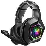 DIZA100 Gaming Headset für PS4 PC Xbox One, 3.5mm Surround Sound Kabelgebundenes ONIKUMA Gaming Kopfhörer mit RGB-Licht und verstellbarem Mikrofon für...