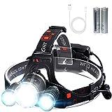 VICTOOM Stirnlampe, Kopflampe Wiederaufladbare Stirnlampe mit 3 Lichtern 4 Modi, super helle LED Kopflampe, Freisprech-Taschenlampe für Laufen, Camping,...