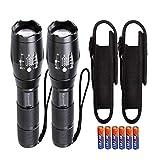 KISCHERS LED Taschenlampe mit Holster Set Inklusive 6 aaa Batterien Extrem Hell 1000 Lumen Taktische Taschenlampen Zoom Wasserdicht für Outdoor Jagd Camping...