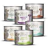 MjAMjAM - Premium Nassfutter für Hunde - Mixpaket II - mit Huhn & Ente, Rind, Pute, Kalb, Truthahn, Lamm, 6er Pack (6 x 200 g), getreidefrei mit extra viel...