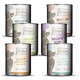 MjAMjAM - Premium Nassfutter für Hunde - Mixpaket II - mit Huhn & Ente, Rind, Pute, Kalb, Truthahn, Lamm, 6er Pack (6 x 800 g), getreidefrei mit extra viel...