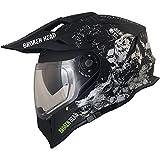 Broken Head Fullgas Viking VX2 - Motorradhelm Mit Sonnenblende - Cross-Helm In Schwarz & Grau - Größe M (57-58 cm)