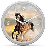 Eurotime Quarzwanduhr, 25 cm, Kunststoffgehäuse Silber, Kunststoffglas, klares 12-Zahlen Zifferblatt mit Pferdemotiv, geräuscharmes Uhrwerk, kein Ticken, Wanduhr für Kinderzimmer, 82224-07