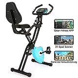 ANCHEER Fitness Bike mit APP, 3in1 Faltbarer Heimtrainer mit Rückenlehne & integriertem Seilsystem,10-stufiger Magnetwiderstand Fitnessfahrrad Trainingsgerät...