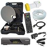 HD Camping Sat Anlage im Koffer 35cm Schüssel mit Digital Easy-FIND Single LNB 0,1dB mit 10m Kabel und HD Sat Receiver für 12 & 230 Volt für mobil SD und HD...