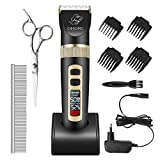 OMORC Schermaschine Hund Leise Haarschneidemaschine für Hunde mit Intelligentes Display und Zubehör (Schwarz)