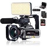 Camcorder 4k,mit 64-fachem Digitalzoom, Verbindung mit Teleskop-/LED-Licht, Mikrofon und anderem Zubehör (Kameratasche und 64 GB SD-Karte) von Golden Panda