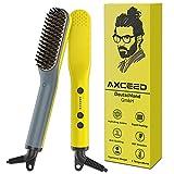 Bartglätter Kamm für Männer, Axceed 2-in1 Elektrischer Haarglätter, 30s Schnelles Aufheizen bis 200 °C Bürste für Haar und Bart Glätteisen