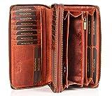 MATADOR Damen/Frauen Geldbörse mit TÜV Geprüfter RFID/NFC Schutz Hochwertige Portemonnaie Rinds Leder Geldtasche Doppelter Metall Reißverschluss viele...