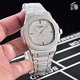 LESHARED automatische mechanische Herrenuhr Saphir Full Iced Diamonds Transparente Silber Roségold Uhren Limited Sport3