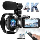 4K Videokamera WiFi Camcorder 48MP Vlogging Kamera 30FPS Digital Camcorder Infrarot Nachtsicht 3 Zoll Touchscreen Camcorder mit Mikrofon und Haube