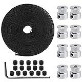Dadabig 3D Drucker Zahnriemen Satz, Riemenscheibe Kit mit 8 Stück 20 Zähne Riemenscheibe 5mm Bohrung+1 Rolle 5M GT2 Timing Zahnriemen+16 schwarze...
