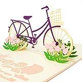 LIMAH® Pop Up 3D Blumen-Fahrrad-Karte, Glückwunschkarte, Geschenkkarte, Überraschungskarte mit einem Damenrad und roten Blumen gut Kombinierbar mit einem...