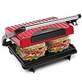 Aigostar Warme 30HHH – Grill, Sandwichmaker und Sandwichmaker 700 W Leistung, Cool-Touch-Griff, antihaftbeschichtete Platten BPA-frei, rot und schwarz....