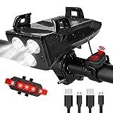 RaMokey LED Fahrradlicht, USB Wiederaufladbare 4 in 1 Fahrradbeleuchtung Set, Wasserdicht Fahrradlicht Vorne Rücklicht Set, 600 Lumen, 3 Licht-Modi,...