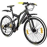 Galano 26 Zoll MTB Fully Volt DS Mountainbike Scheibenbremsen Jugendfahrrad (schwarz/grün)