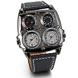 JewelryWe Herren Armbanduhr, Leder Legierung, Elegant Analog Quarz Kompass Thermometer Armband Uhr mit Zwei Zifferblättern, Schwarz