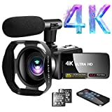 Camcorder 4K Video Camcorder 30.0MP18X Digital Zoom Ultra HD Vlogging Camcorder with Microphone 3' LCD Touch Screen Webcam Function YouTube Camcorder with Lens...