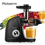 Entsafter Slow Juicer, Picberm PB2110A BPA-frei Saftpresse Einfache Reinigung Obst & Gemüsesaft Entsafter mit Ruhiger Motor und Umkehrfunktion Inkl....