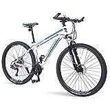 DJYD Mens Mountain Bikes, 33-Gang Hardtail Mountainbike, Doppelscheibenbremse Aluminiumrahmen, Berg Fahrrad mit Federung vorne, Grün, 29 Zoll FDWFN (Color :...