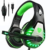 Pacrate Gaming Headset für PS4 PS5 PC Xbox One, Xbox Series X LED Clarity Sound Kopfhörer, Kopfhörer mit 3.5mm Noise Cancelling Microphone (Black Green)