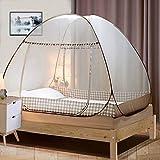 Digead Moskitonetz Bett , Faltbares Bett-Moskitonetz , Tragbares Reise-moskitonetz , Einzeltür-Moskito-Campingvorhang ,120 * 200 cm - Brauner Rand