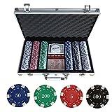 WeFun Poker Koffer Set,Pokerkoffer Pokerset 300 Laser Pokerchips Poker Komplett Set