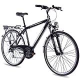 CHRISSON 28 Zoll City Bike Herrenrad INTOURI mit 24G ACERA schwarz matt Gabel: Suntour