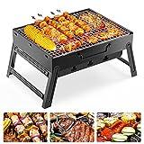 FISHOAKY Portable Grill, Mini BBQ Holzkohlegrill Edelstahl, Tragbar Klappgrill BBQ Camping Barbecue Grill mit Handschuhe+BBQ Zange+Ölsprüher für 2-3 Personen...